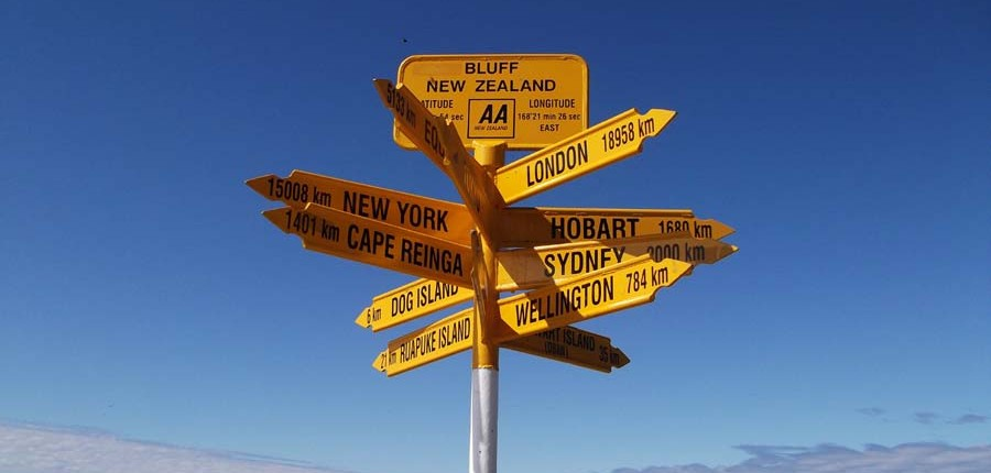 Bluff Signpost New Zealand